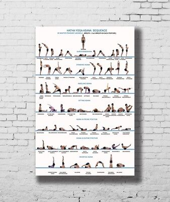 Yoga Exercise Bodybuilding Chart New 12x18 24x36 Art Silk Poster