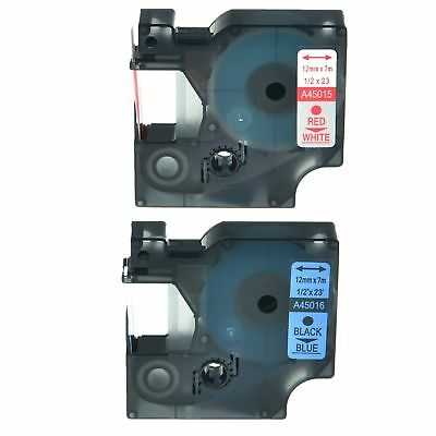 2PK 45015 45016 Label Tape Laminated For Dymo D1 LabelManager 280 300 12mm