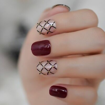 Grid Gold Red Short Square Nails Clear Cobweb Pre-Designed Artificial Daily Wear