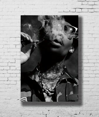 D4984 Wiz Khalifa Smoking BW Hip-Hop Rap Gigantic Print POSTER