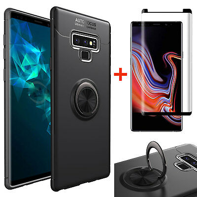 Silicone Case Ring Holder Stand + 2x Screen Protector for Samsung Galaxy Note 9