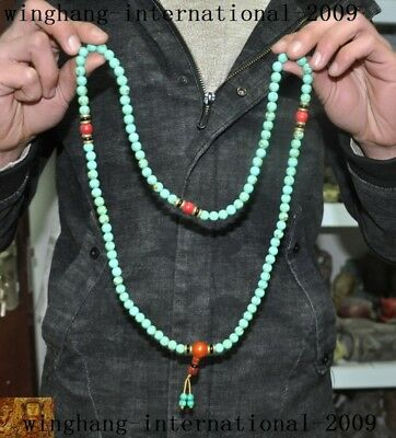 """19""""Old Chinese Buddhism turquoise red coral Pendant Prayer beads Fozhu Necklace"""