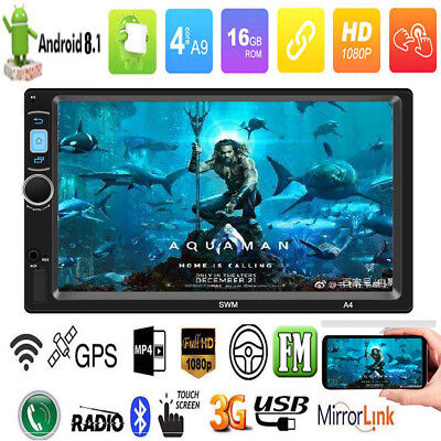 4-core Android 8.1 7In 2DIN Car Stereo MP5 Player GPS Navi FM Radio WiFi BT 16GB