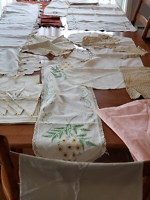 Lot of Vintage Whites Linens Runners Doilies Placemats napkins and More