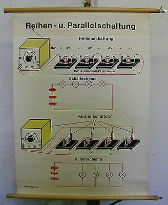 Schulwandkarte Wall Map Reihen- and Parallel Connection Power Ampere River