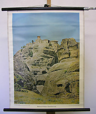 Nice Old Wall Picture Meteora Convent Climbing Greece 55x71 Vintage~1960