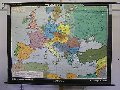 Schulwandkarte Wall Map Europe according to 2.WK after WW2 190x146cm