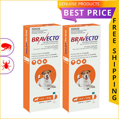 BRAVECTO SPOT ON Flea Tick treatment Orange 2 Doses for Dogs 4.5 to 10 Kg