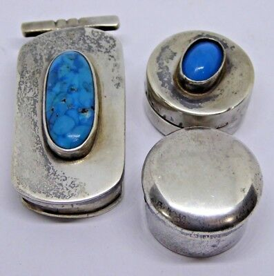 3 x Vintage Silver Turquoise and Other Set Pill / Trinket / Rouge Pots