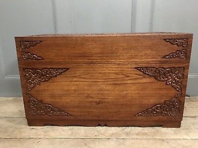 Camphor Wood Chest Blanket Box Toy Box Trunk With Carved Detail