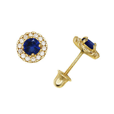 Brilliant Round Halo Blue Sapphire Stud Earrings Screw Back 14K Yellow Gold 6mm