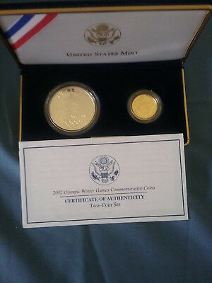 2002 Salt Lake Olympic Winter Games 2-Coin Commemorative Coin Set Silver & Gold