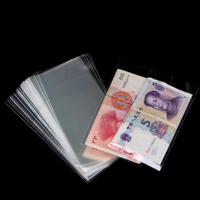 100PCSfessional Banknote Sleeves Paper Money Holder Collection Bag