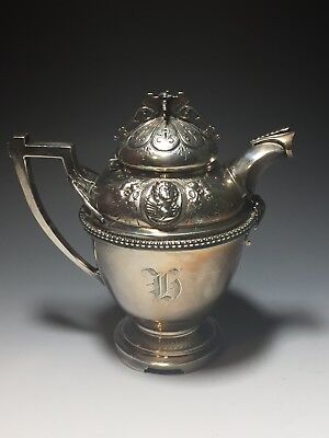 Antique Victorian Wood & Hughes Coin Silver 900/1000 Medallion Creamer