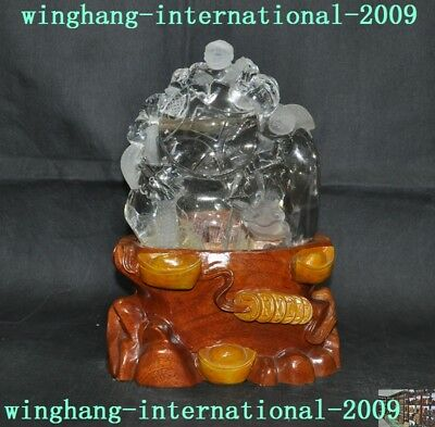 old Chinese 100% natural crystal Feng shui wealth coin lantern tongzi boy statue