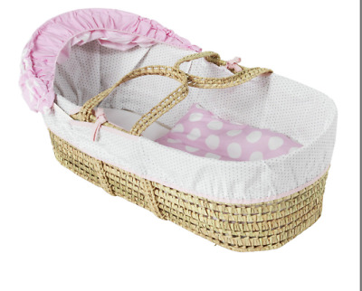 New Woven Palm Clair de Lune Pink Polka Baby Carry Moses Basket Bed Girl Girls