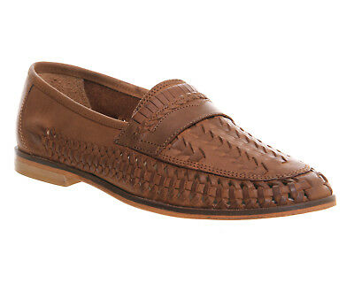 Mens Office Bow Weave Slip On Loafers Tan Washed Leather Casual Shoes