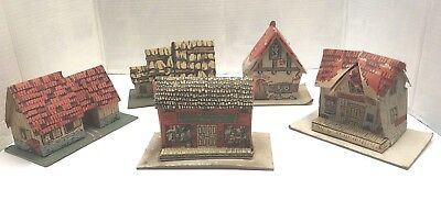 Vintage Lot 5 Cardboard PUTZ Christmas TRAIN Village PINEVILLE EZEKIELS Litho