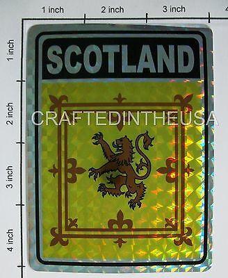 "Reflective Sticker Scotland Lion Flag 3x4"" Inches Adhesive Car Bumper Decal"