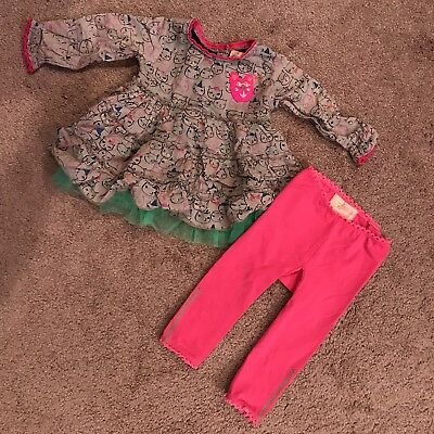 Mim-Pi Infant 9 Month Girl Cat Kitty Pink Outfit Set