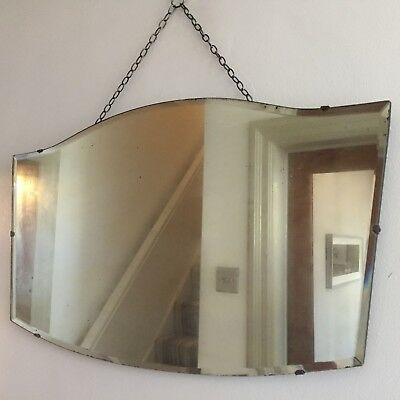Large Vintage Frameless Bevelled Mirror FOXED HEAVILY MISTED GLASS 68X40cm (m71)