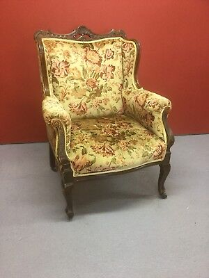 Antque French Carved Walnut Wing Back Armchair Sn-291