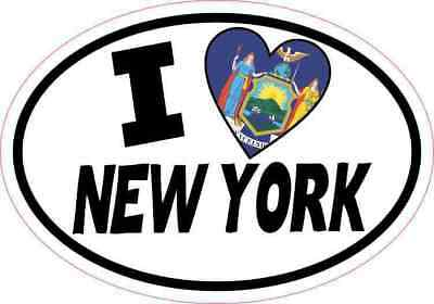 5x3.5 Oval I Love New York Sticker Flag Luggage Car Window Bumper Tumbler Decal