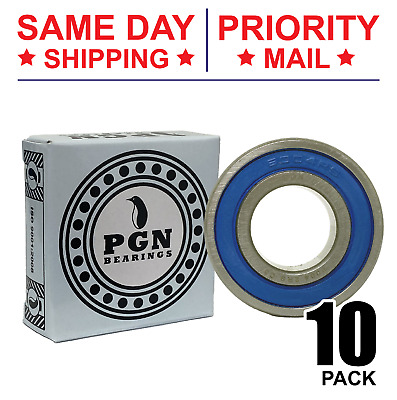 Lot of 10 PCS, 6004-2RS Premium C3 Rubber Sealed Ball Bearing, 20x42x12, 6004RS
