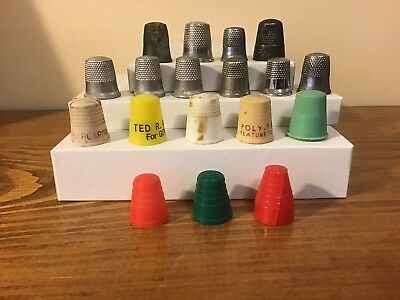 Nice Lot Antique Thimbles Sterling,advertising Tupperware Parties, Governor