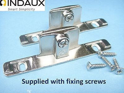 Genuine INDAUX Kitchen Drawer Front Fixing Brackets,pair Including Fixing Screws