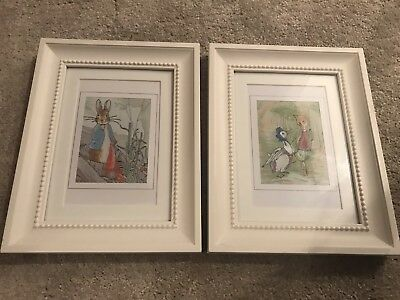 White Framed Beatrix Potter Embrioded Picture Set Pair Peter Rabbit Jemima Duck