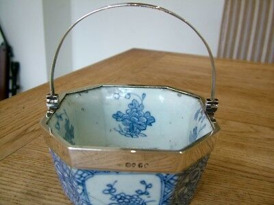 Rare Hm1826 English Silver Mounted Chinese Export Porcelain Bowl Basket Sucre Nr