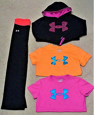 GUC - EUC UNDER ARMOUR Youth Girls Mixed Lot Shirts Pants Hoodie Size YMD