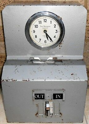 Art Deco Style Electric Factory Time Recorder Clock In/Out Machine Vintage