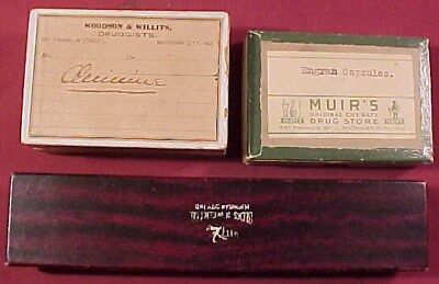3 Old Advertising Boxes Michigan City, Indiana Drugstore & Jewelry Store