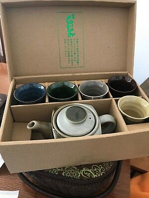 Japanese Green Tea Cups  Set 5 different Colors and Tea Pot with Strainer 6pcs