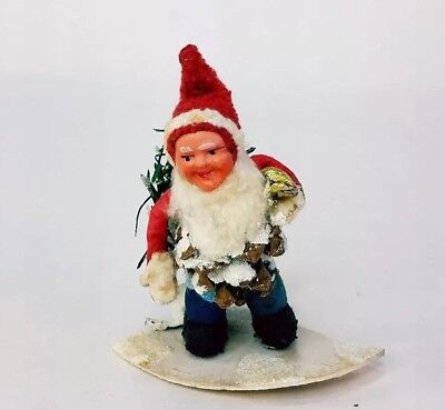 Vtg Pine Cone Santa Gnome Elf Painted Composite Face Spun Cotton Felt Germany