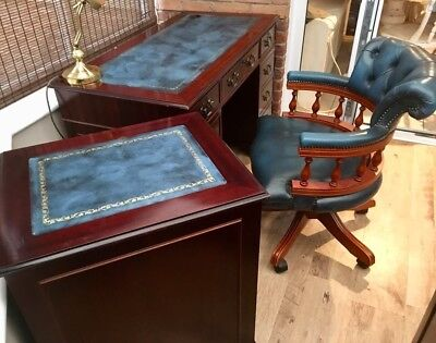 Reproduction Antique Style Leather Top Desk, with matching filing cabinet & Capt