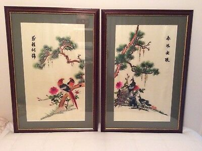 2 Chinese Silk Embroidered Framed Pictures