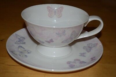 Laura Ashley Butterfly Garden Footed Cup and Saucer
