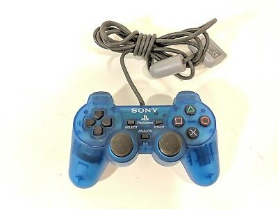 Sony Playstation 1 PS1 Island Blue Analog DualShock Controller OEM SCPH-1200