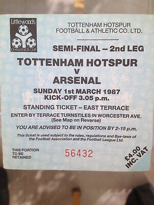 1987 Tottenham Hotspur v Arsenal Old Football Ticket Semi-Final Match Used Spurs