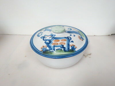 M A Hadley Pottery Country Farm Cow Pig Decorated Casserole W/Lid The End 4231K