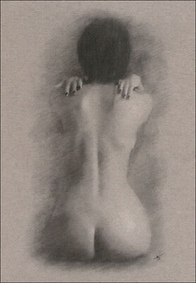 Female Nude ORIGINAL DRAWING Charcoal Chalk Art naked lady back view NO RESERVE