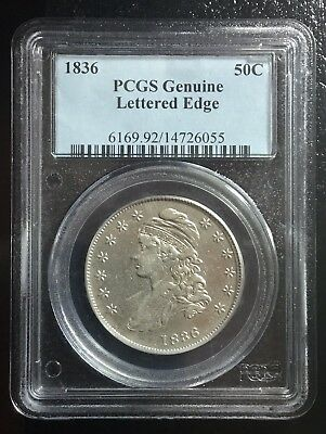 1836 Capped Bust Half Dollar, PCGS Genuine, Lettered Edge