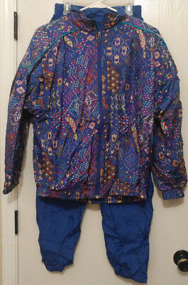Vintage 80's 90's Lavon Windbreaker Track Suit Jacket & Pants Blue Size Medium