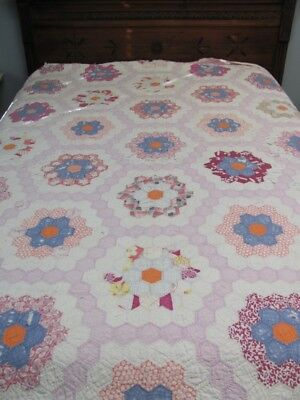 VTG Antique 1920s PRIMITIVE FEEDSACKS Country FLOWER GARDEN QUILT *CUTTER-ROUGH