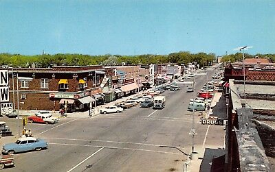 Brookings SD~Main Street~Corner Drug~NW Bank Time & Temp~Mail Truck~1950s Cars