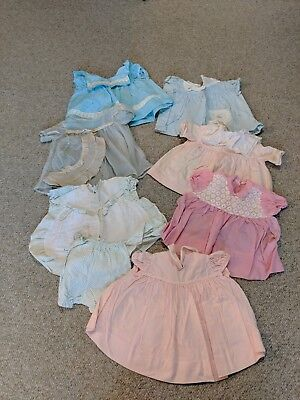 Vintage Clothing Lot of 7 sets 1960s Girl dresses blue and pink 6 mos