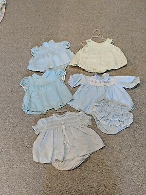 Vintage Clothing Lot of 5 sets 1960s Girl dresses blue and green small or 3 mos